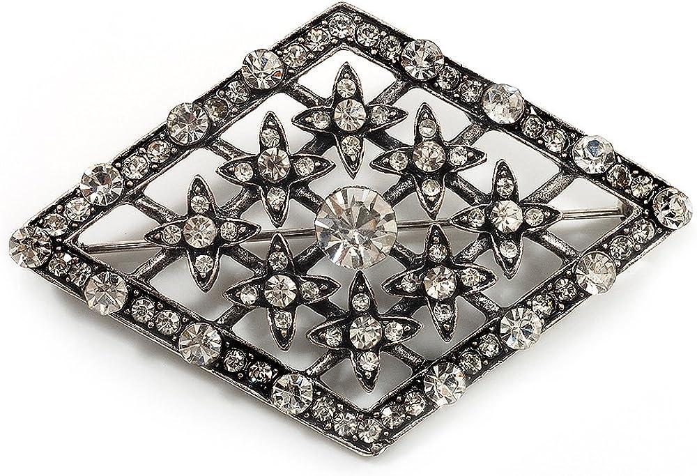 Broche Vintage G/éom/étrique Diamant/ée Finition Argent Cuivr/é