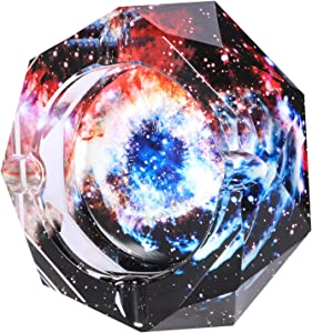 Kaforise Crystal Outdoors Indoors Cigarette Ashtray Ash Holder Case, Colorful Pattern Home Office Tabletop Beautiful Decoration Craft (Eye Starry Sky)