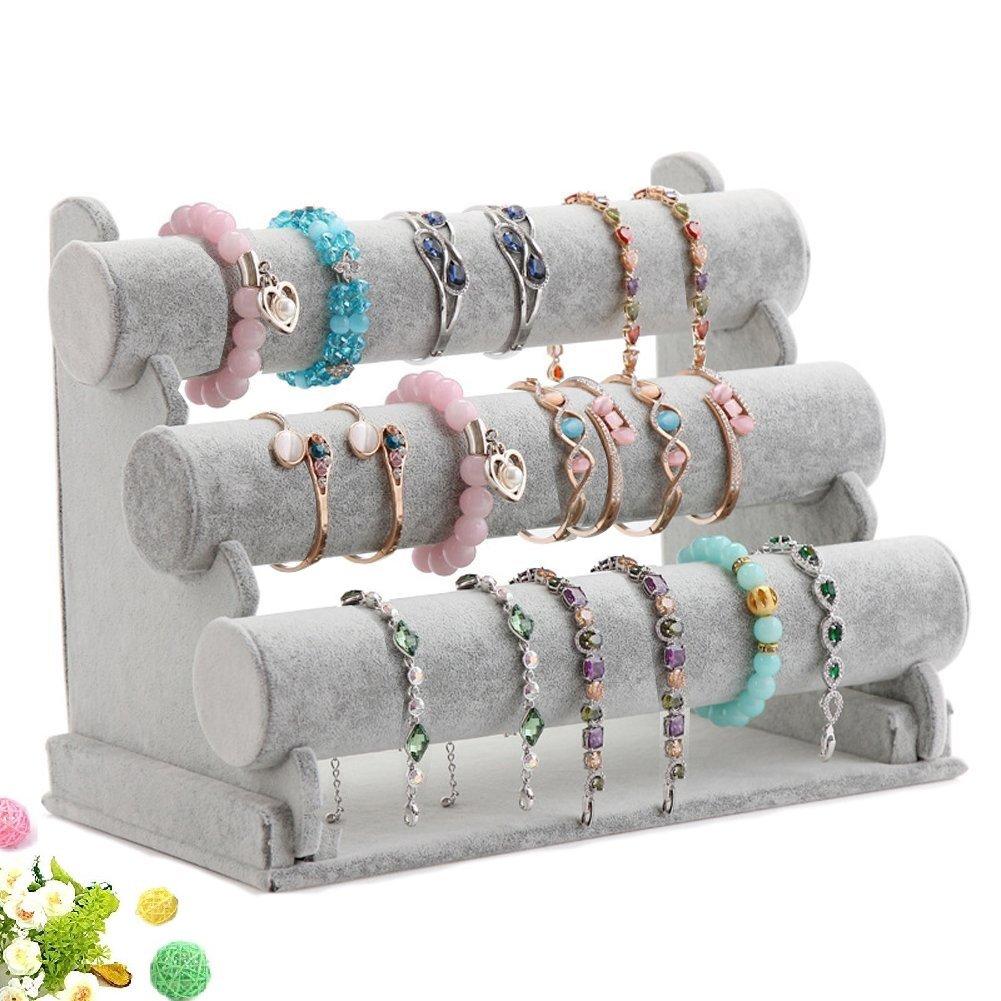 Wuligirl Triple Bracelet Holder Jewelry Display Stand Watch Bangle Bar Necklace Storage Organizer Gray ( Ice Velvet 3 Tier )