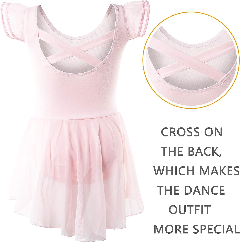 DIPUG Ballet Leotards for Girls Ballet Leotard With Skirt Toddler Dance Leotards Flutter Sleeve and Criss-Cross Back
