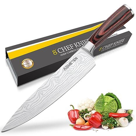 Cuchillos de Cocina,Cuchillo Cocina,Cuchillo chef,Profesional Cuchillo de Cocinero 20cm, Acero Inoxidable de Alemania con Mango Ergonómico para Cocina ...