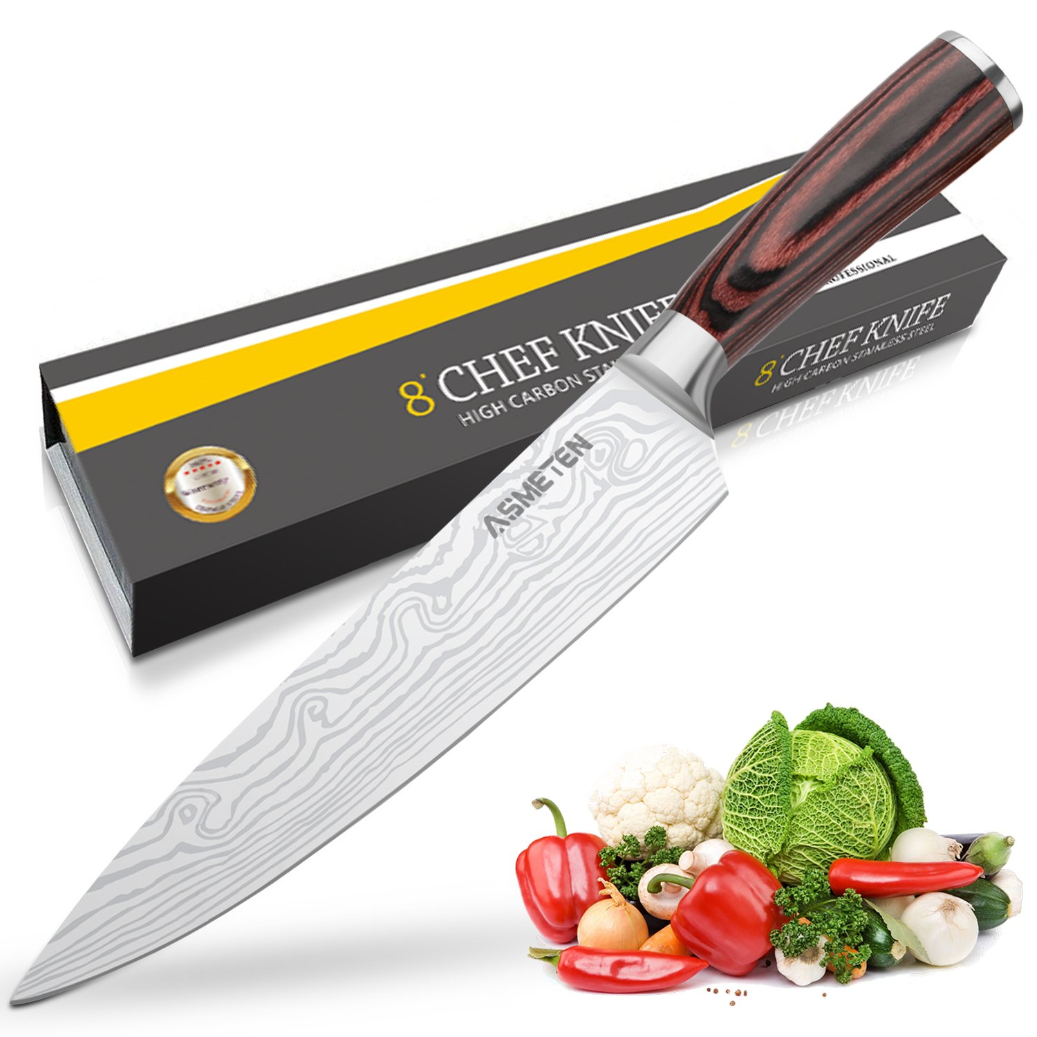 Asmeten Chef Knife,Kitchen Knife, Professional Chefs Knife 8 Inch, High Carbon Stainless Steel, Best Value With Exquisite Packaging, Ultra Sharp Cooking Knife (White)