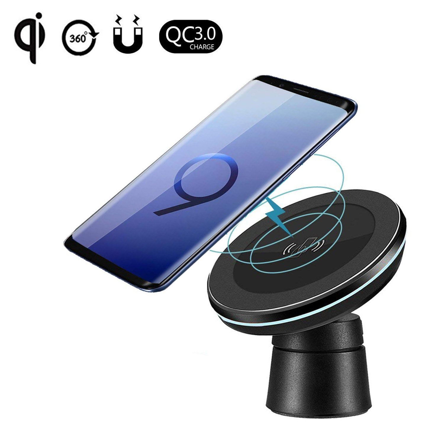 Fast Wireless Car Charger Magnetic Charging Pad Car Mount on Dashboard and Air Vent Phone Holder Compatible Samsung Galaxy S9 (Plus) Note 8 S8 Standard Wireless Charging Compatible iPhone X/8 Plus