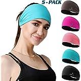 DASUTA 5 Pack Non-Slip Headband for Women Men Girls Boys - Moisture Wicking Silicone Wide Sweatband & Elastic Sports…