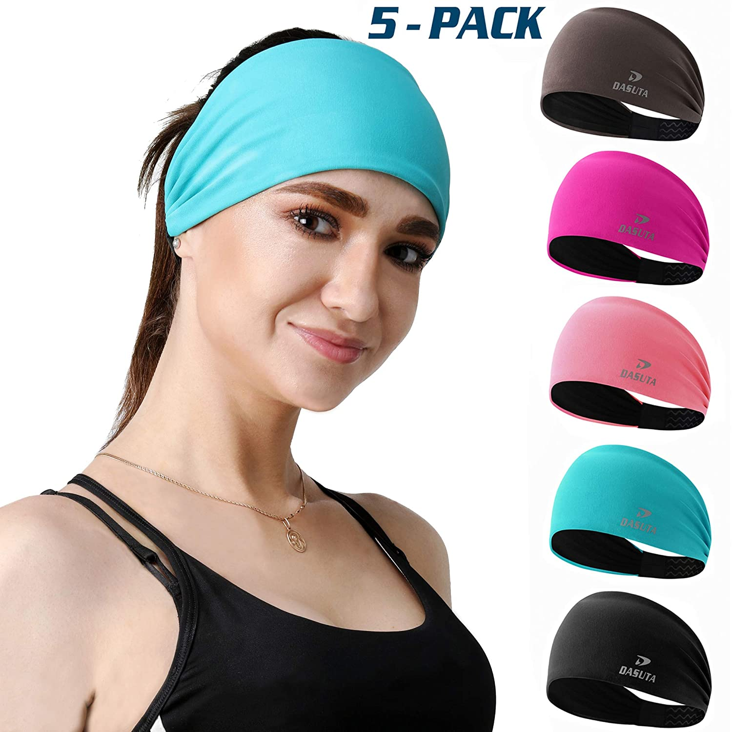 DASUTA 5 Pack Non-Slip Headband for Women Men Girls Boys - Moisture Wicking Silicone Wide Sweatband & Elastic Sports Headbands for Workout, Yoga, Running, Fitness, Bike, Hair Head Band Set with Box