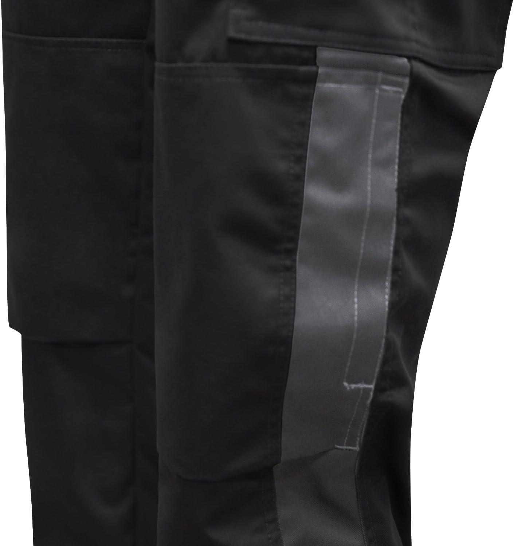 Cerniera Lampo YKK Made in EU Nero-Grigio 56 Tasca per Ginocchiere KERMEN Pantaloni da Lavoro Berlin PRO Bottone YKK