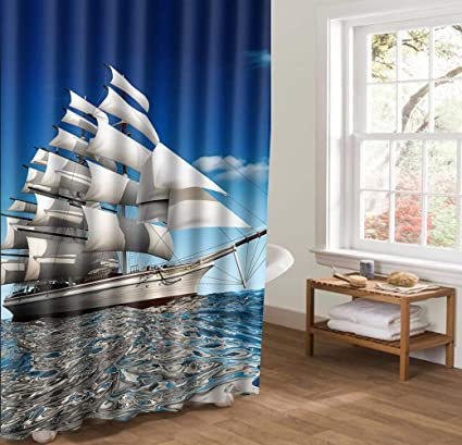 Amazon AllanQing Beautiful Sailboat Sailing Sail Shower Curtain