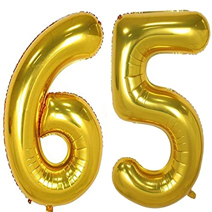 Amazon 40inch Gold Foil 65 Helium Jumbo Digital Number Balloons