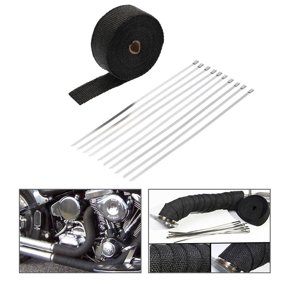 KKmoon 15m Exhaust Insulating Tape Roll Manifold Downpipe Heat Wrap Turbo Pipe Heat Insulated Wrap (1.5MM Thickness) & 6 Fitting Cable Ties
