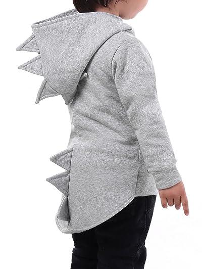 Toddler Boy Animal Dinosaur Fleece Zip Front Hoodie High-Low Hem Animal Sweatshirt