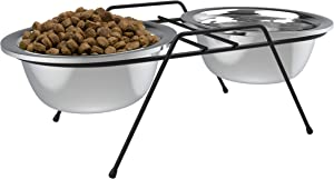 PETMAKER Stainless Steel Elevated Pet Bowls with Nonslip Iron Stand for Dogs, Cats- Raised Feeder for Food, Water with Removable Dishes- 40 oz Each