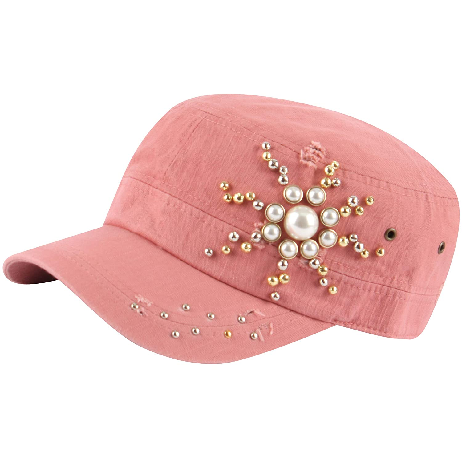 Pink RaOn A247 Trendy Twinkle Army Cap Jewelry Pearl Faux Cubic Stud Cadet Military Hat