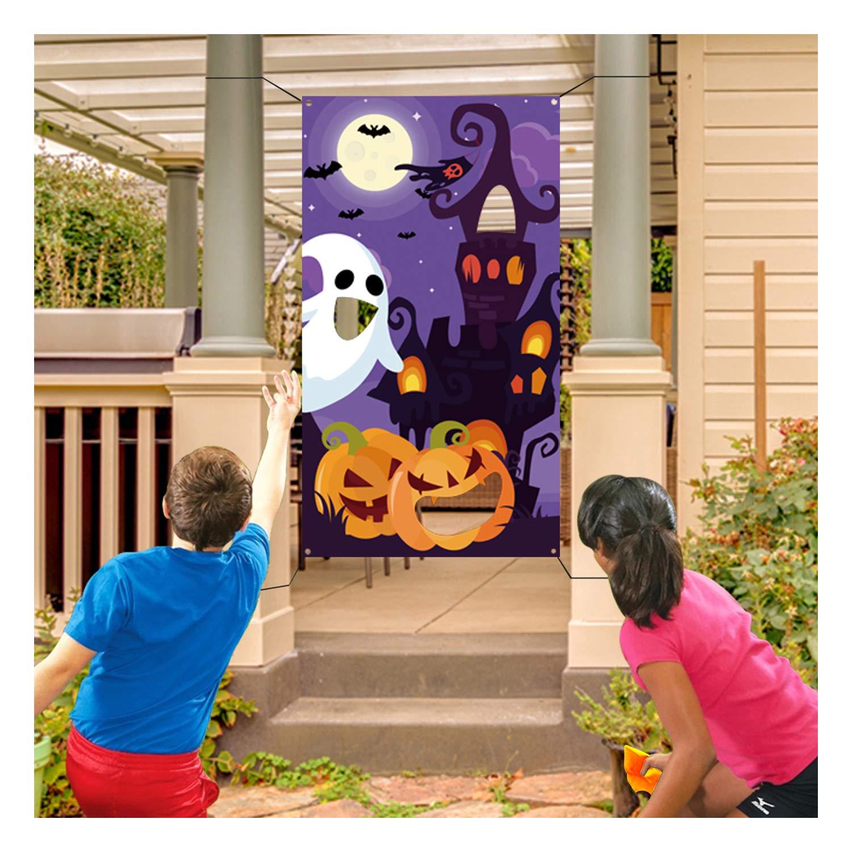 Halloween Bean Bag Toss Games+3 Bean Bags for Kids/Childrens/Family Party, Halloween Night Theme Indoor/Outdoor Parties Supplies Decoration Pumpkin Castle Ghost Bat Moon Toss Game Banner for Teens