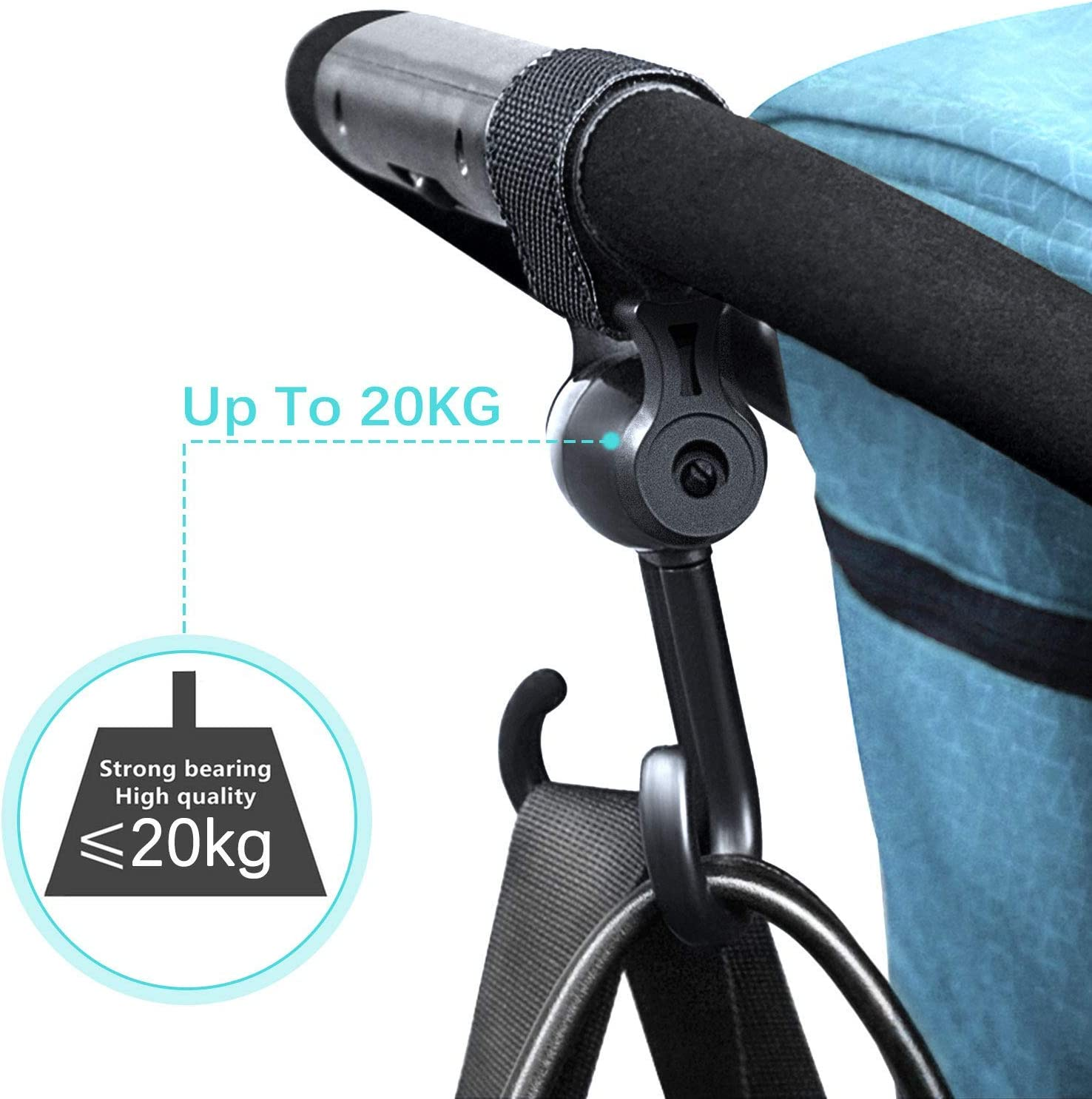 2PCS 2 Pack 20KG Bearing Universal Multi-Purpose for Changing Bag Holder and Shopping Bag 2 Pack Click to Open expanded View Buggy Clips Pram Clip Hooks for Stroller Pushchair