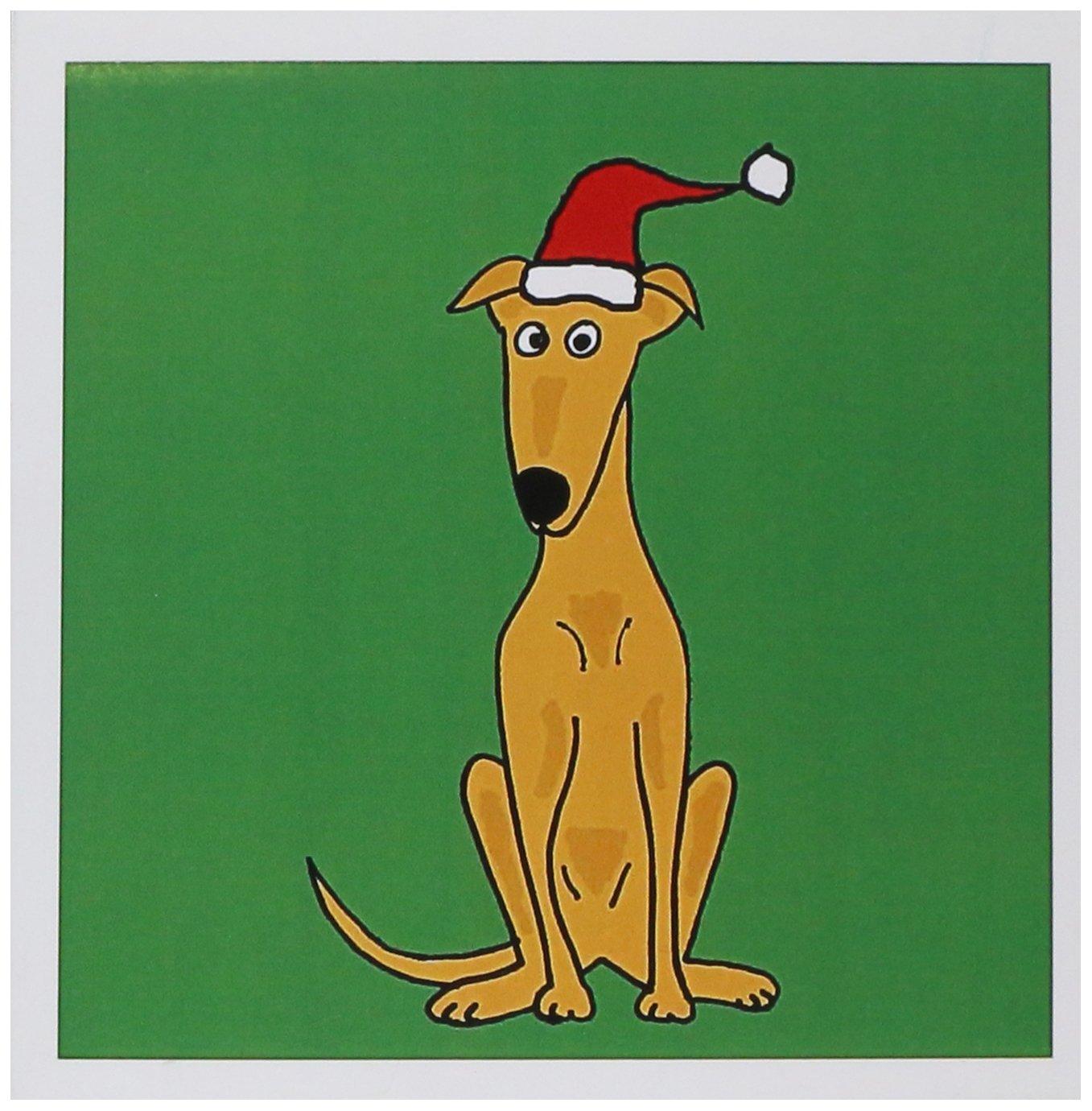 33246544b1143 Amazon.com   Funny Greyhound Puppy Dog in Santa Hat Christmas Art -  Greeting Cards