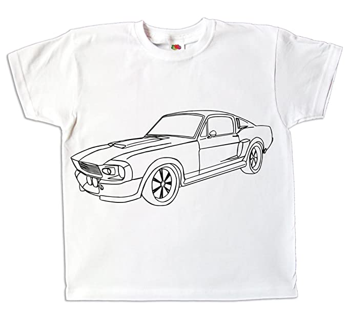 Pixkids Kinder T Shirt Auto Mustang eleonore Jungen Zum bemalen und ausmalen Spiel Zum Kindergeburtstag Kindergarten Ostergeschenk Malbuch