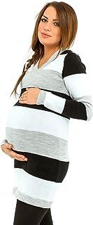 Happy Mama Donna Vestito Prémaman in maglia a righe multicolori. 405p ONE SIZE IT 40/42/44) HMMG-557-2232_405_1