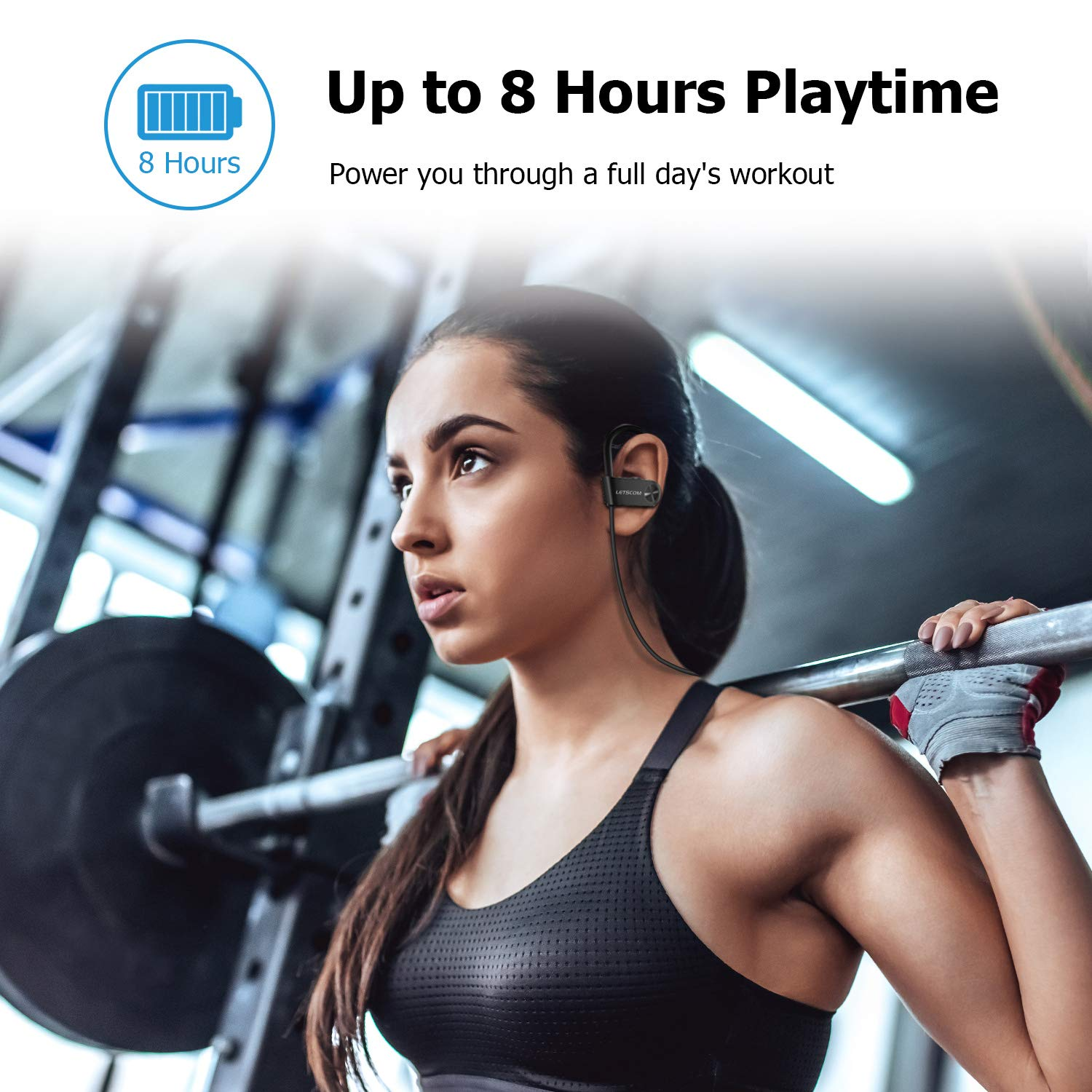 Bluetooth Headphones, LETSCOM Wireless Earbuds IPX7 Waterproof Noise Cancelling Headsets, Richer Bass & HiFi Stereo Sports Earphones 8 Hours Playtime Running Headphones with Travel Case by LETSCOM (Image #6)