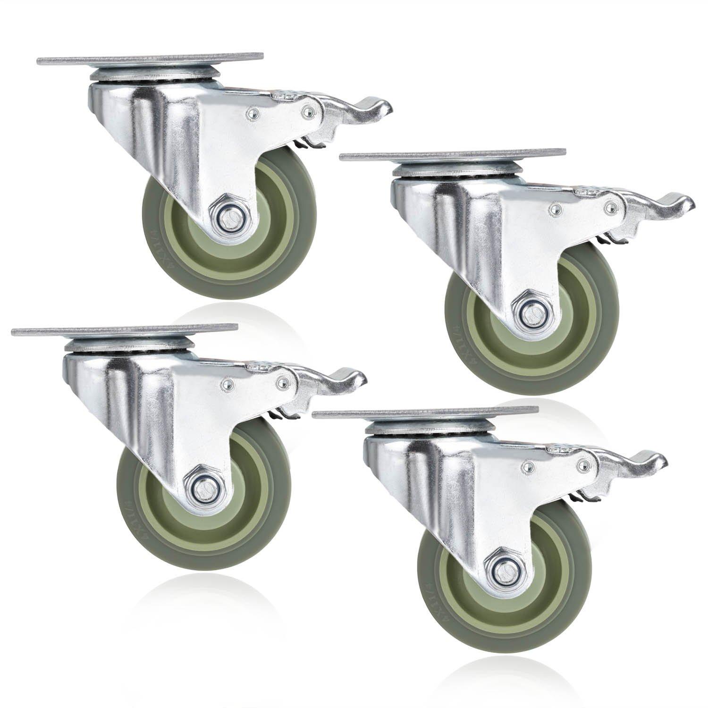 4'' TPR Heavy Duty Swivel Caster Wheels Lockable Ball Bearing 300lbs each (Set of 4) - Silver Gray