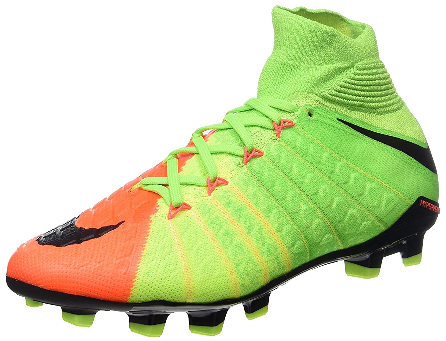 low priced 687a9 1d1ee Nike Kids Hypervenom Phantom III Dynamic Fit FG Electric Green/Black/Hyper  Orange Soccer Shoes - 5Y
