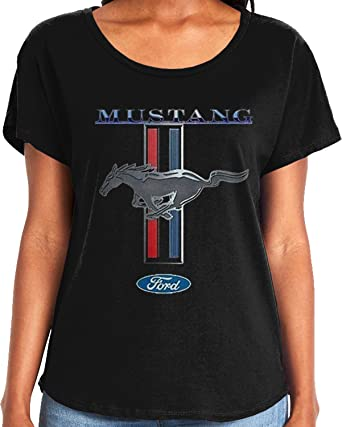 Amdesco Ladies Officially Licensed Ford Mustang Pony Emblem Dolman T Shirt by Amdesco