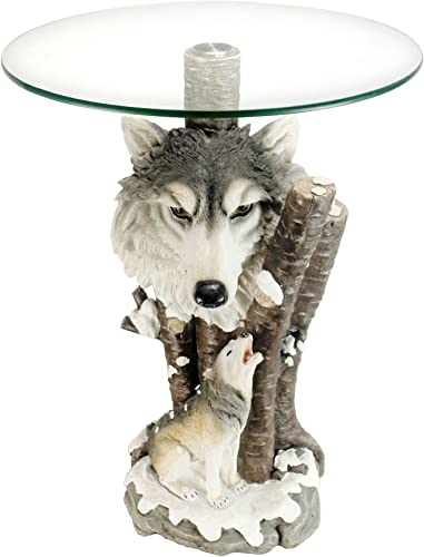 OK Lighting Animal 24 H Glass Top Color Sculpture End Table – Wolf
