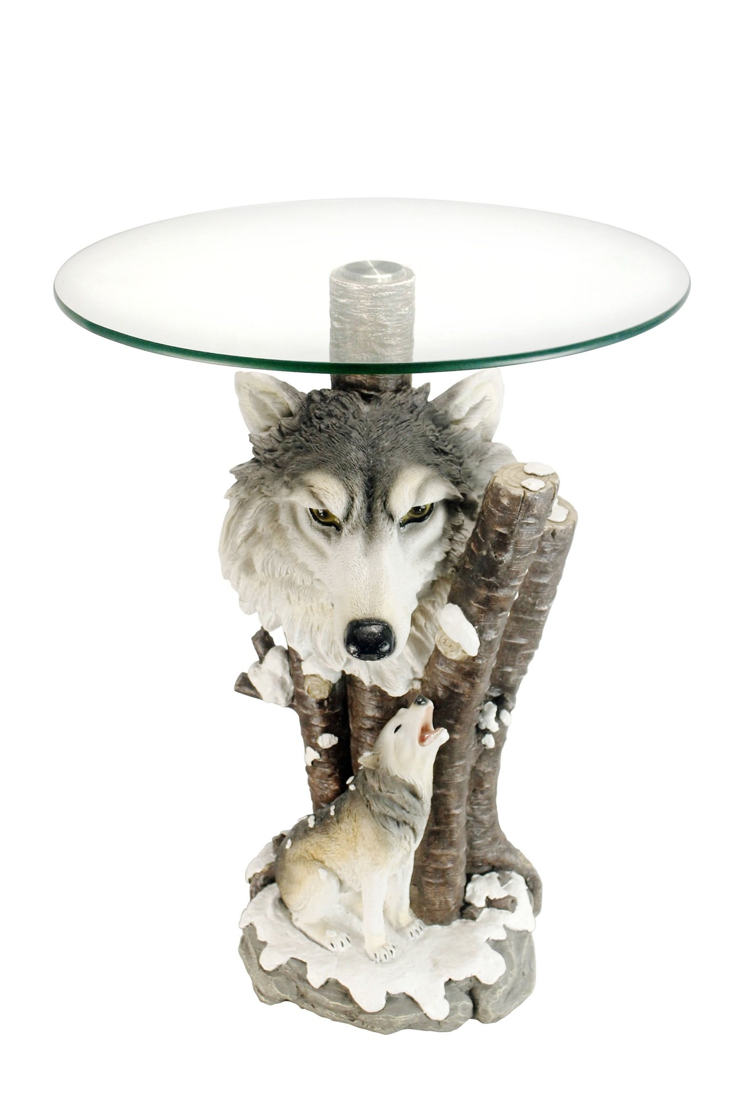OK Lighting OK-0729N Animal Sculpture End Table 24'' H Glass Top Color Sculpture End Table - Wolf