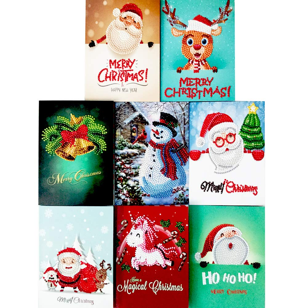 amazoncom christmas cards 5d diy diamond painting round drill greeting cards 8 pack creative christmas card rhinestone embroidery arts craft