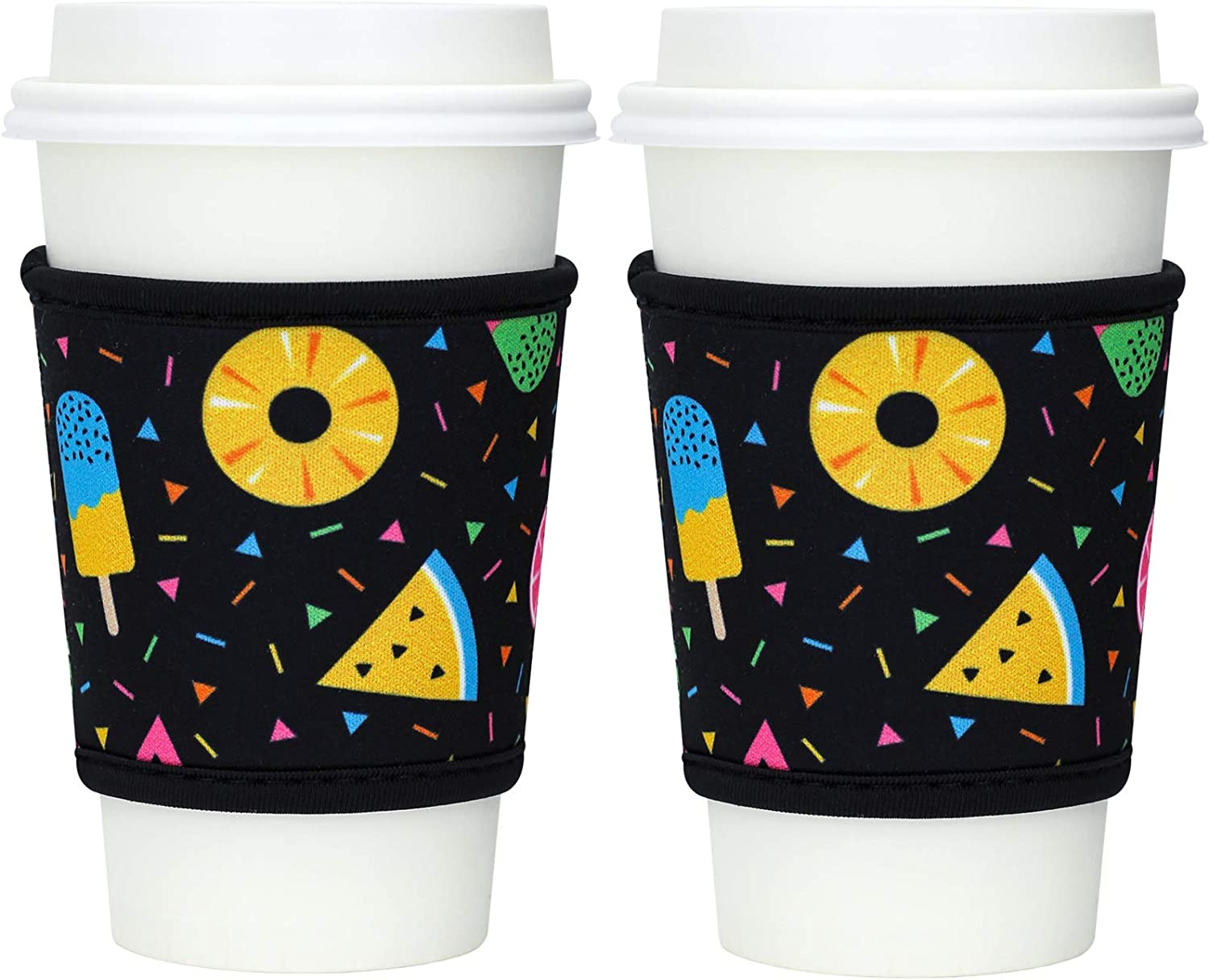 Hzran Reusable Iced Coffee Cup Sleeve, Insulator Java Sleeve for Cold Beverages and Hot Coffee, 12-24oz Neoprene Holder for Starbucks Coffee, McDonald's, Dunkin Donuts-Set of 2(Donuts)