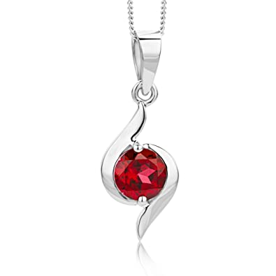 Miore Necklace - Pendant Women White Gold 9 Kt/375 Ruby Chain 45 cm NZNaD