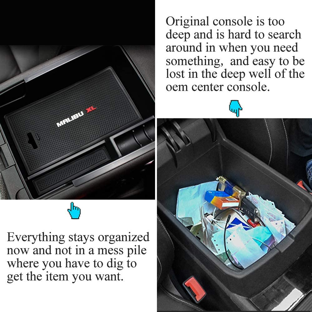 Center Console Organizer Glove Box Tray for Chevrolet/Chevy/Malibu 2020 2019 2018 2017 2016 Armrest Secondary Storage Box Divider Compatible With Chevy/Malibu 2016-2020 Accessories