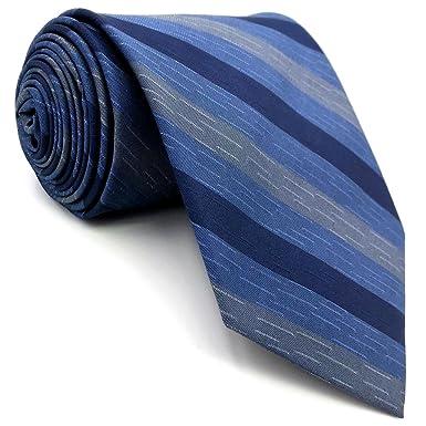 shlax&wing Rayas Azul Corbatas Para Hombre Seda Tie Set Traje de ...