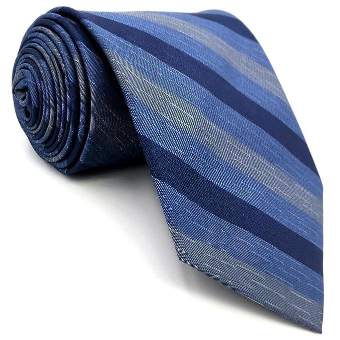 Shlax&Wing Rayas Azul Corbatas Para Hombre Seda Traje de negocios ...