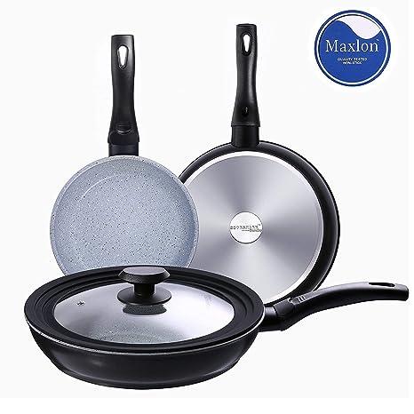 COOKSMARK® Faraday Juego de 3 Sartenes Inducción de 20 24 28cm Sartén Antiadherente Cocina con