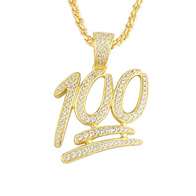 9ec7d1c6c5a10 TENG LAI Hip Hop Iced Out 100 Emoji Pendant Necklace with Cubic Zirconia  for Men