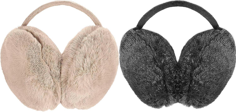 2 Pieces Winter Earmuffs Faux Fur Ear Warmers Big Foldable Outdoor Earmuffs for Adults