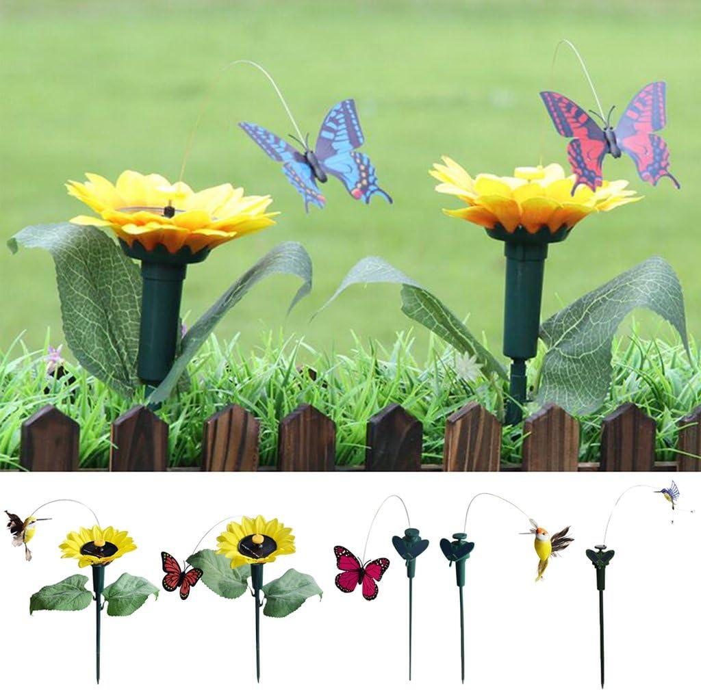 Baoblaze Solar Garten Gartenstecker Blumentopfstecker Schmetterlinge//Vogel Form 35x8cm Schmetterlingsstangen