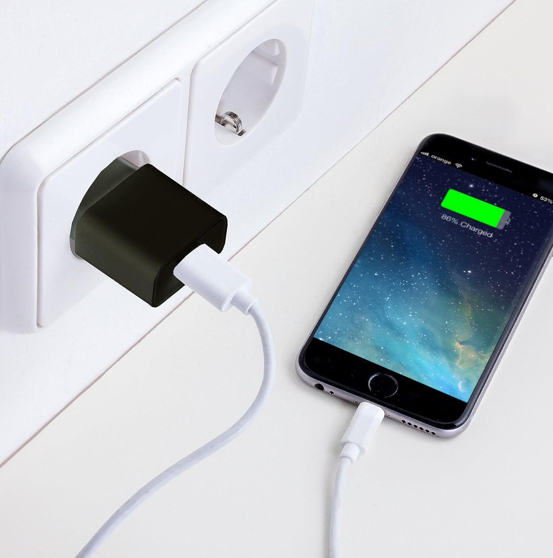 Samsung - Enchufe Plug de Pared para ej Apple iPad USB Adaptador MyGadget 2X Cargador Universal Blanco iPhone 5V // 1A Tablet