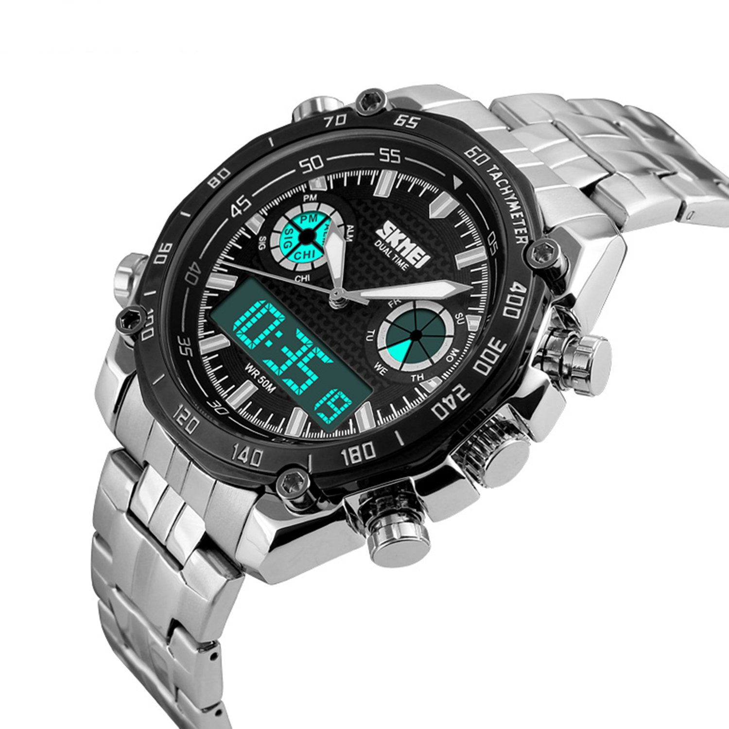 Mens Watch Military Sport Watches Dress Stainless Steel Analog-Digital Wrist Watches Multi-dials Black