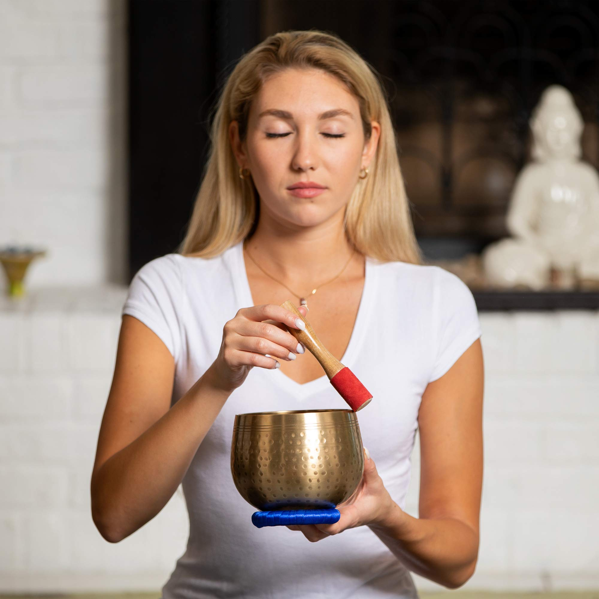 Meditative Brass Singing Bowl with Mallet and Cushion  -Tibetan Sound Bowls for Energy Healing, Mindfulness, Grounding, Zen, Meditation  -  Exquisite, Unique Home Decor and Gift Sets by Telsha (Image #7)