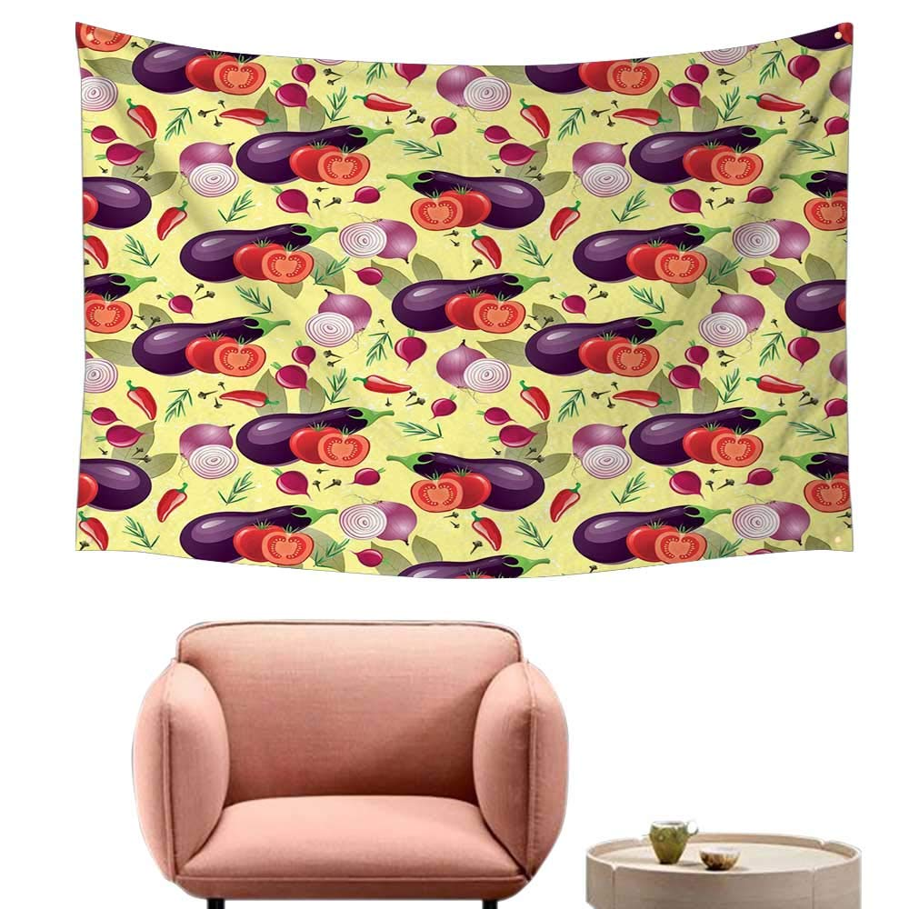 Agoza Big Tapestry Eggplant Eggplant Tomato Relish Onion Going Green Eating Organic Tasty Preserve Nature Home Decorations for Bedroom Dorm Decor 74''x57'' Multicolor by Agoza