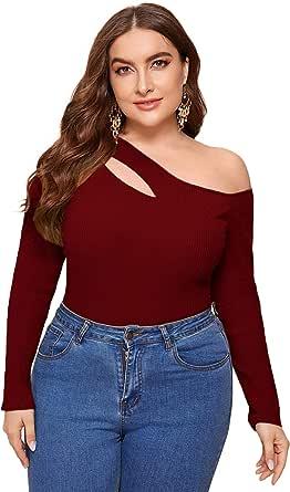 SheIn Women's Plus Size Asymmetrical Neck Cut Out Detail Long Sleeve Blouse Tee Tops