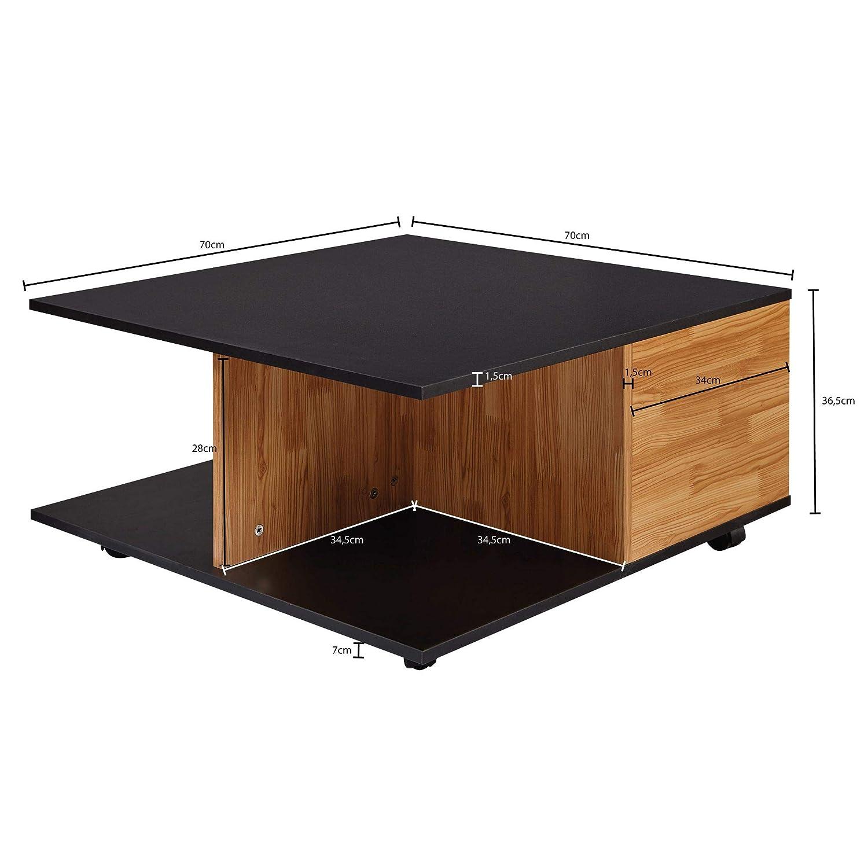 Sofatisch mit Rollen Wohnzimmertisch mit 2 Schubladen /Tisch mit 2 F/ächern FineBuy Design Couchtisch 70x70 cm Anthrazit//Sandeiche