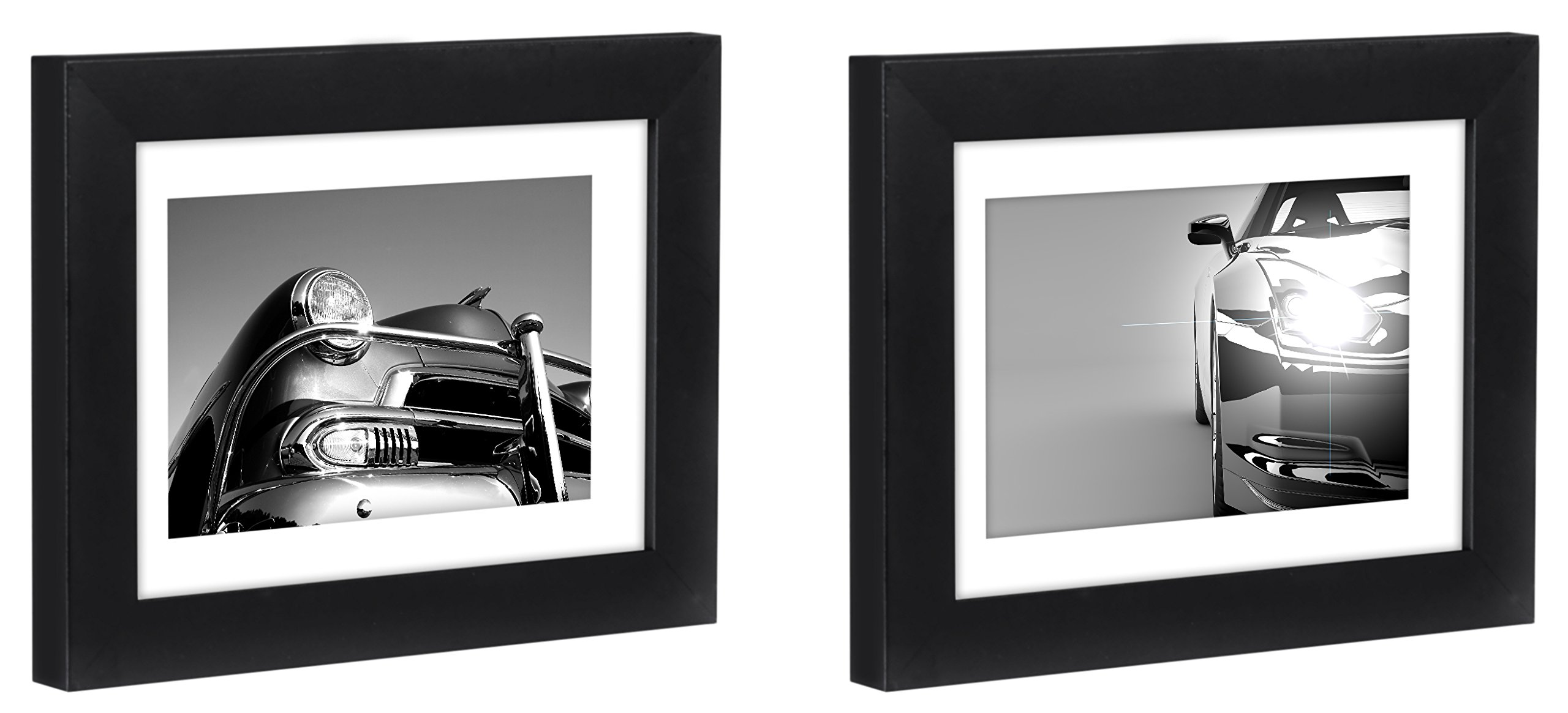 Americanflat Two Black Tabletop Frames - Display Pictures Sized 4x6 Inches Mat 5x7 Inches without Mat – Glass Fronts, Easel Stands, Ready to Display on Desktop Tabletop