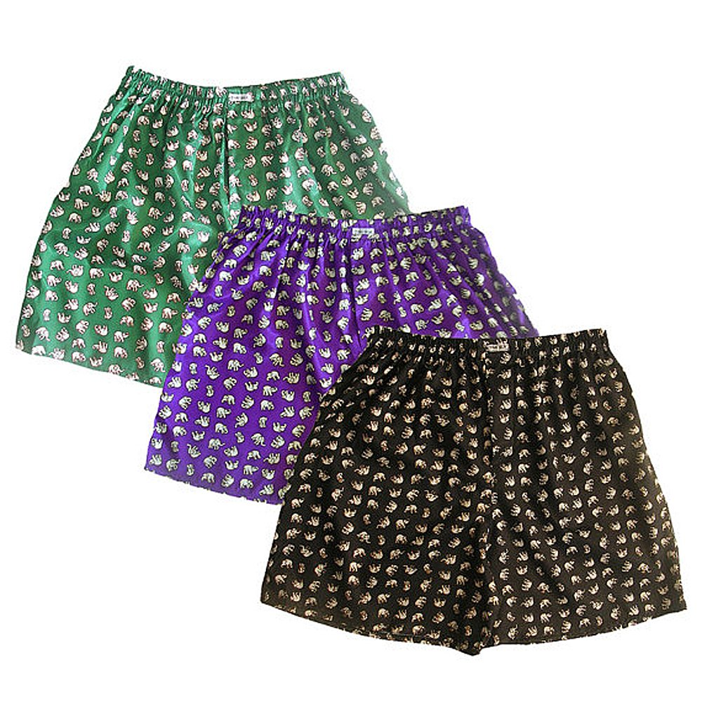 amazon com silk blend boxer shorts 3 pairs green purple black