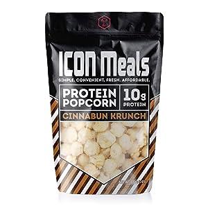 ICON Meals Protein Popcorn, High Protein Popcorn, 10g Protein, High Protein Snack, 1 Bag (8.5 oz) (Cinnabun Krunch)