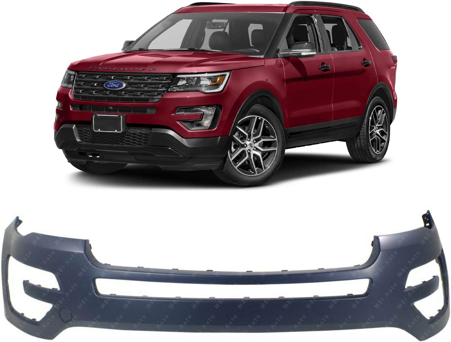 FO1000723 Primered MBI AUTO Front Bumper Cover Fascia for 2016-2019 Ford Explorer w//Tow Hook 16-19
