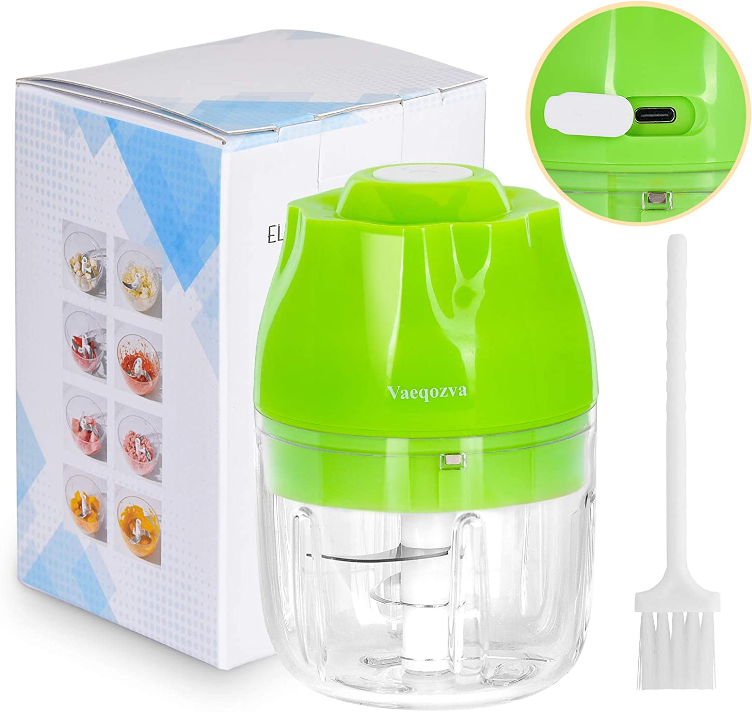 Electric Mini Food Garlic-Chopper Vaeqozva Portable Wireless Mincer Blender Mixer USB Rechargeable Food Processor for Garlic Baby Food Vegetable Meat Fruits Onions Puree 8.45oz, Green