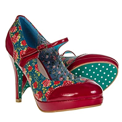 new style 05333 8684a Damen Schuhe Vintage 50er Pinup Hoher Absatz Mary Jane Rot ...