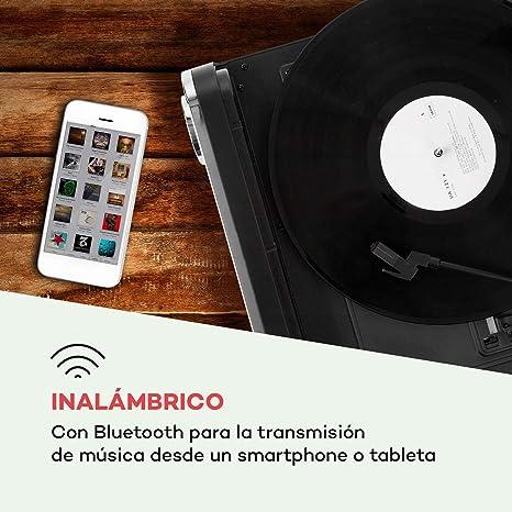 auna Challenger LP Tocadiscos con Altavoces estéreo - Tocadiscos para Vinilo , Radio FM , 3 W de Potencia Media , Bluetooth , USB , AUX , 33, 45 y 78 ...